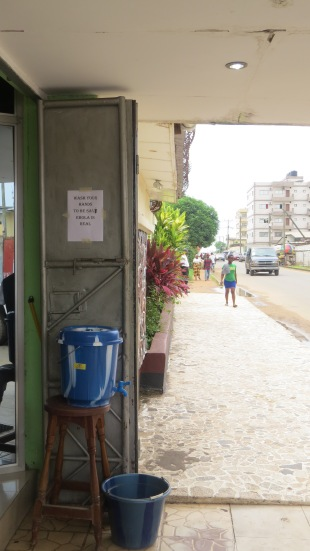 the handwashing stations placed in front of virtually every residence, business or otherwise. just strong pool water.