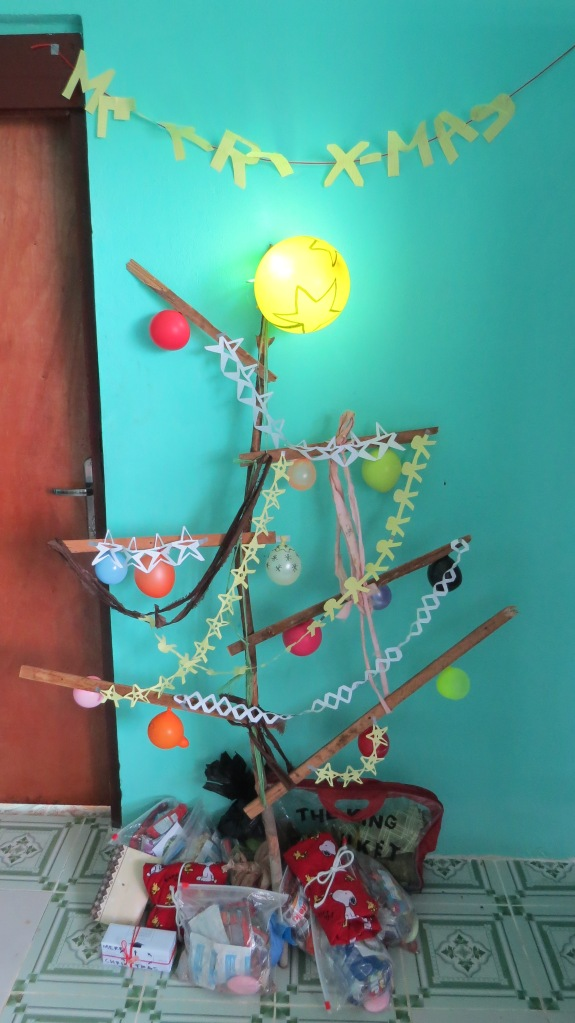 our tree, fashioned with ETU waste, balloons and love